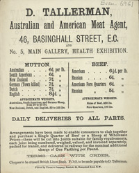 Advert For D. Tallerman, Meat Agent reverse